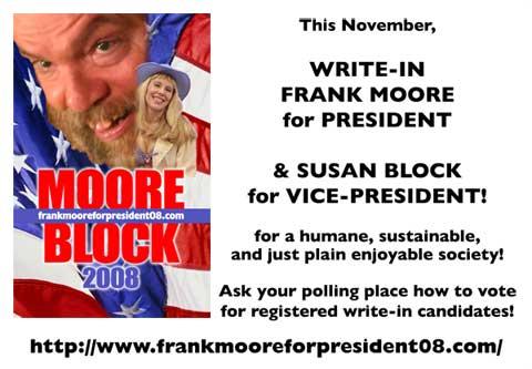 frank moore for president sign